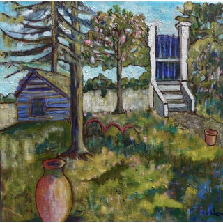 French Backyard Oil Painting