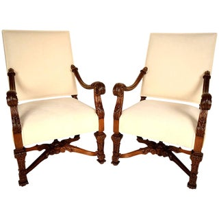 19th Century Louis XIV Throne Chairs - A Pair