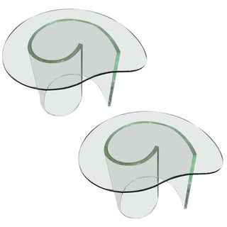 Mid-Century Modern Lucite Snail Side Tables - A Pair