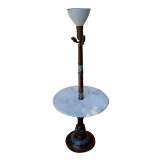 Antique Brass, Inlay Torchiere Marble Table Lamp