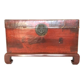 Large Antique Chinese Vellum Lacquer Storage Trunk With Chop Marks