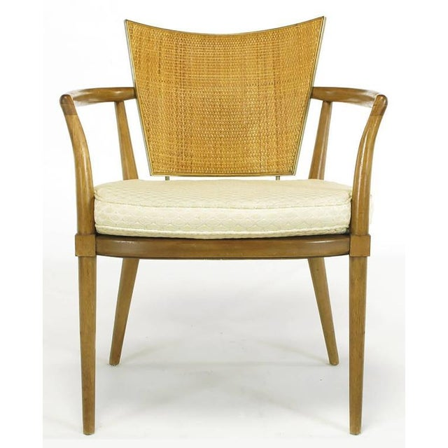 Set of Six Bert England Mahogany, Brass and Cane Dining Chairs - Image 3 of 7