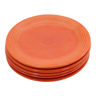 "Vintage ""Radioactive"" Orange Fiesta Ware Plates - Set of 5"