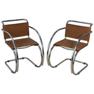Modern Ludwig Mies Van Der Rohe Mr20 Armchairs - A Pair