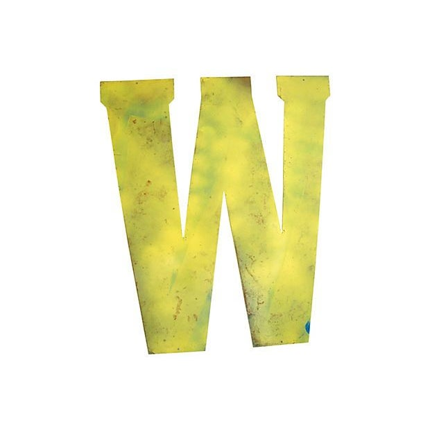 Image of Large Yellow Metal Marquee Letter W