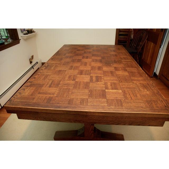 Oak Parquet Extendable Vintage Dining Table - Image 3 of 8