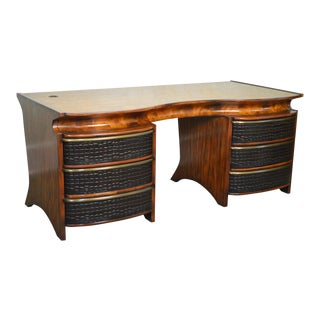 Theodore Alexander Mahogany & Alligator Skin Executive Desk