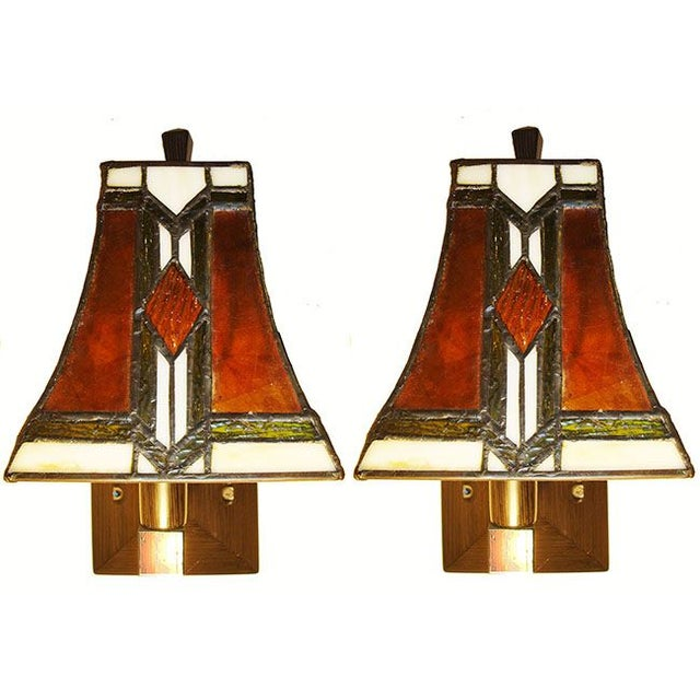 Tiffany Arts and Crafts Mission Style Sconces - Image 1 of 6