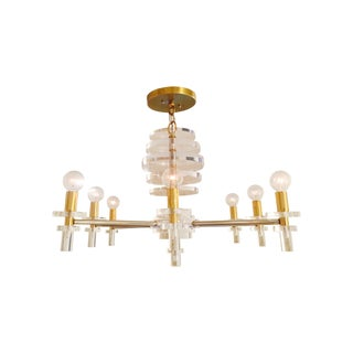 Lucite/Brass/Chrome Mod Chandelier