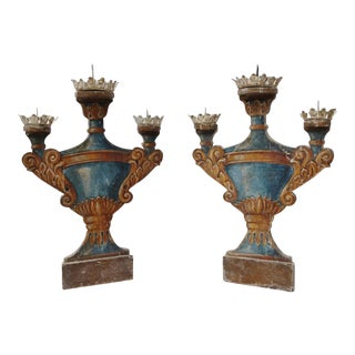 Italian Painted Candleholders - a Pair