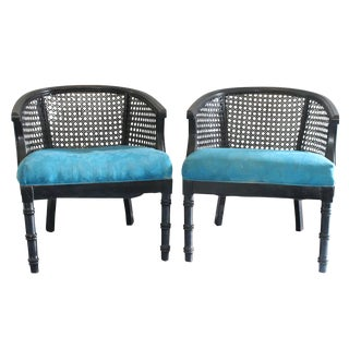 Black Enamel Faux Bamboo Cane Chairs - Pair