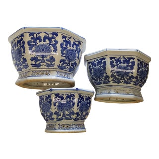 Chinese Octagonal Blue & White Flower Pots Cachepots - Set of 3