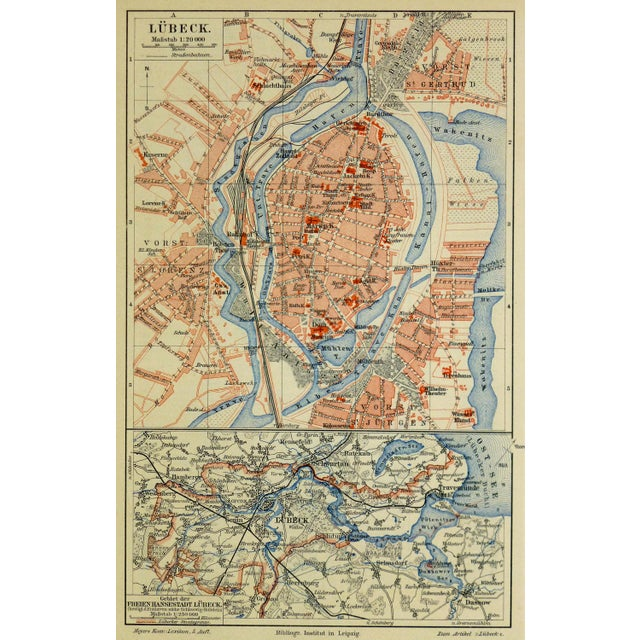 Antique Lithograph Map - Lübeck, Germany, 1880 - Image 4 of 4