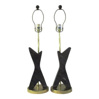 Black Marble & Gold Lamps - A Pair