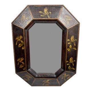 Chinoiserie Style Faux-Leather Wall Mirror