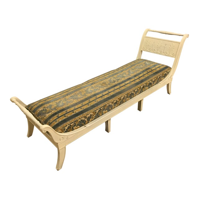 Antique 1920s White Directoire Style Chaise Lounge - Image 1 of 11