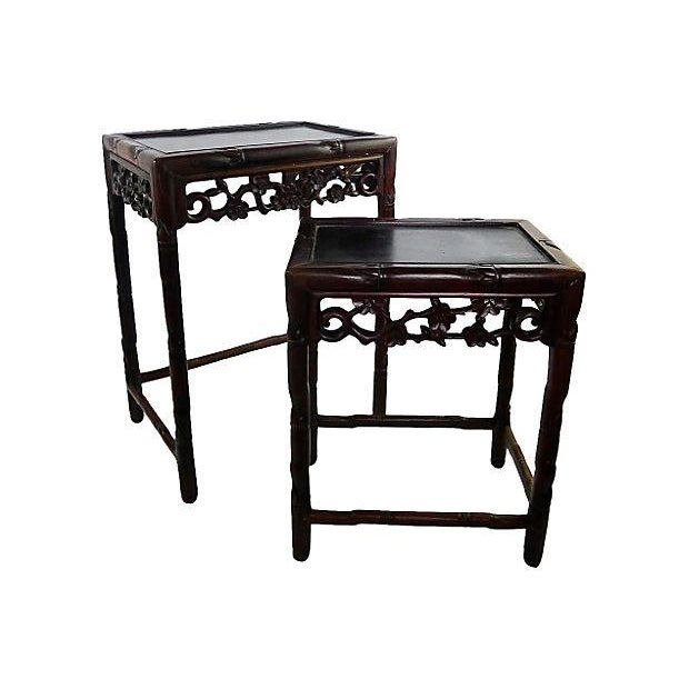 Image of Vintage Carved Bamboo Design Wood Nesting Tables