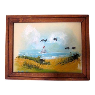 Coastal Beach Scene Signed Painting
