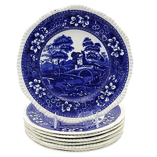 Antique Spode Tower Dinner Plates - Set of 8