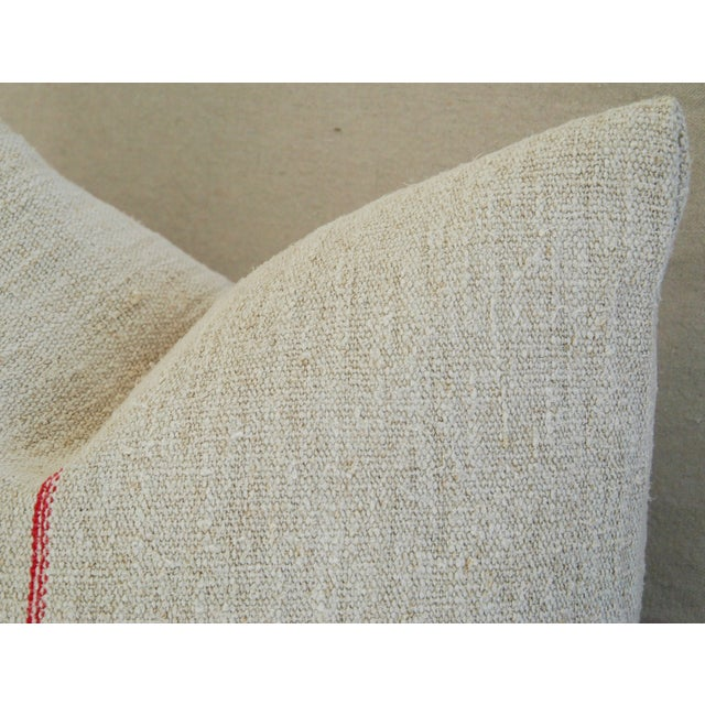 1940s French Grain Sack Textile Pillow - Image 6 of 7