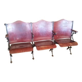 Antique Theater 3 Seat Bench