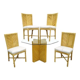 Vintage Hollywood Regency Bamboo Rattan Dining Set
