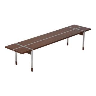 Handsome Danish Teak and Aluminium Bench Table