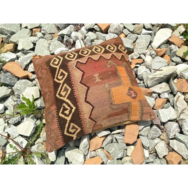 "Decorative Anatolian Kilim Pillow - 20""x 20"" - Image 4 of 6"