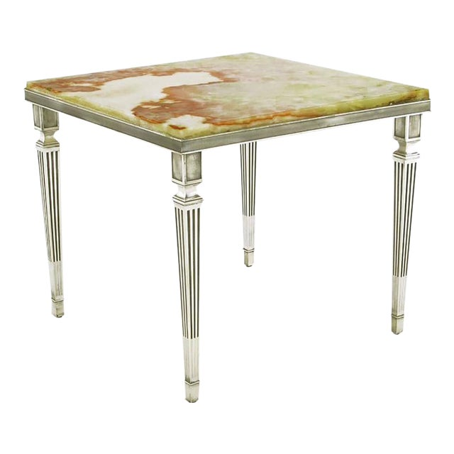 Pair of 1940s Silver Plated Bronze and Onyx End Tables - Image 1 of 7