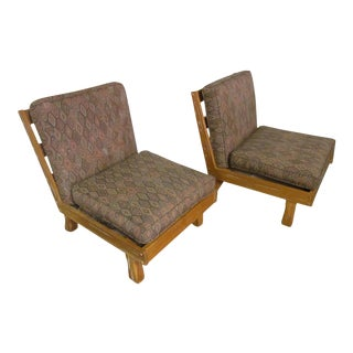 Brandt Ranch Oak Armless Lounge Chairs - A Pair