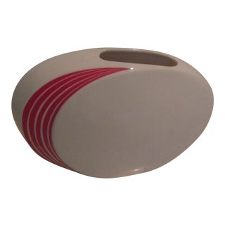 Vintage Japanese Modern Red Striped White Porcelain Vase