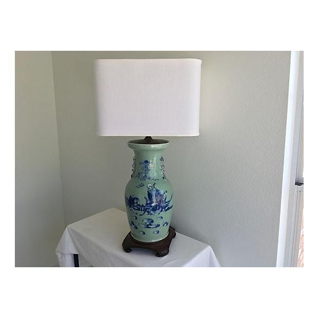 1940s Celadon Foo Dogs Lamp - Image 2 of 7