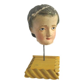 Antique Santo Head Sculpture on Wood Stand