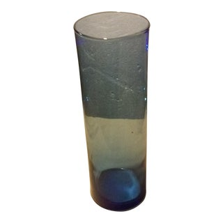 Blue Glass Cylinder Vase