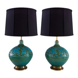 Retro Blue Green Sphere Lamps - A Pair