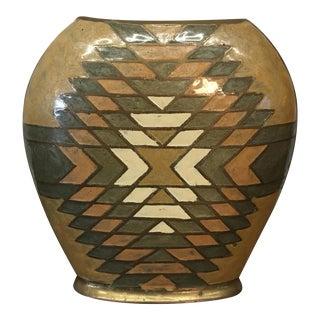 Vintage Brass Geometric Vase