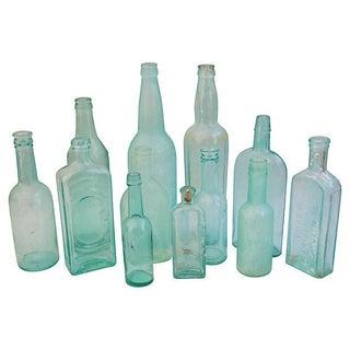 Collection Aqua & Teal Antique Bottles - Set of 12
