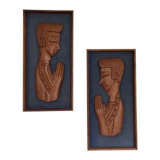 Praying Boys Carved Panels on Linen - Pair