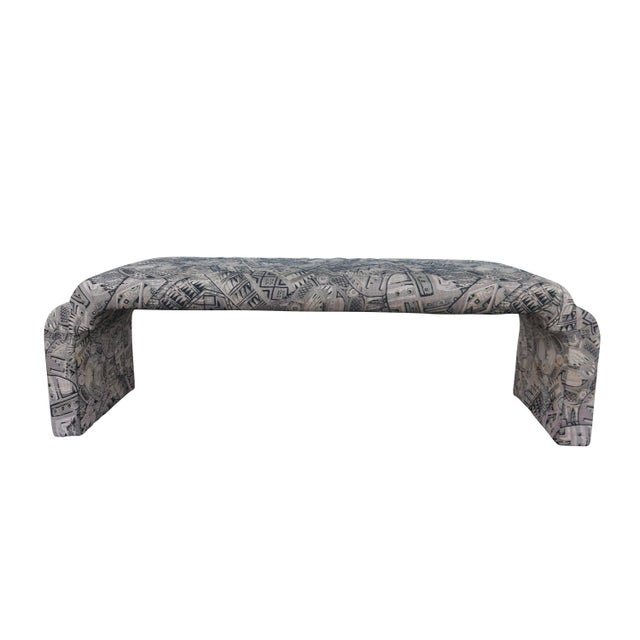 Upholstered Karl Springer Style Waterfall Bench - Image 1 of 4