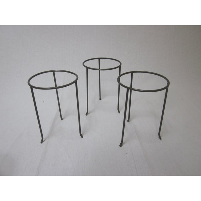 Modernist Wrought Iron Plant Stands - Set of 3 - Image 3 of 10