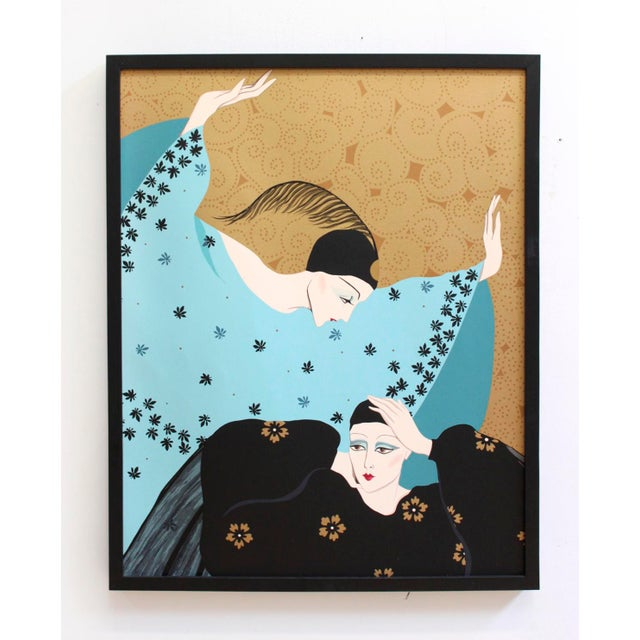 Image of Weimar Deco Style Women Illuminated Gold Painting on Paper