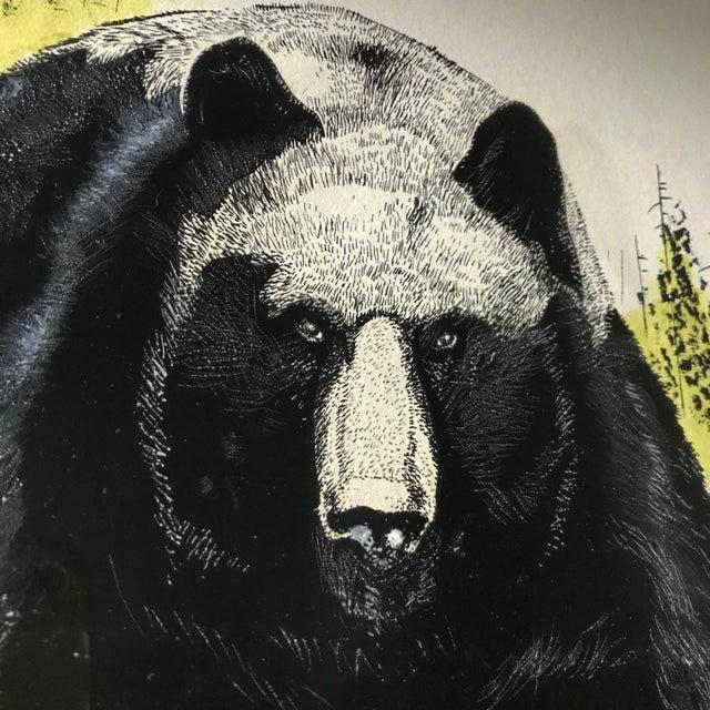 Vintage Ink & Watercolor Black Bear Painting - Image 4 of 10