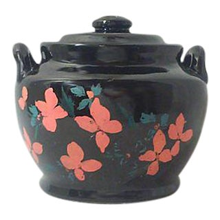 Black Ceramic Hand Painted Lidded Crock Pot