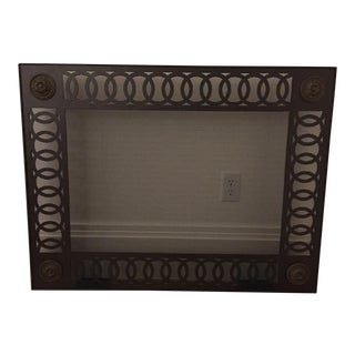 Custom Metal Fire Screen Black With Bronze Corner Rosettes