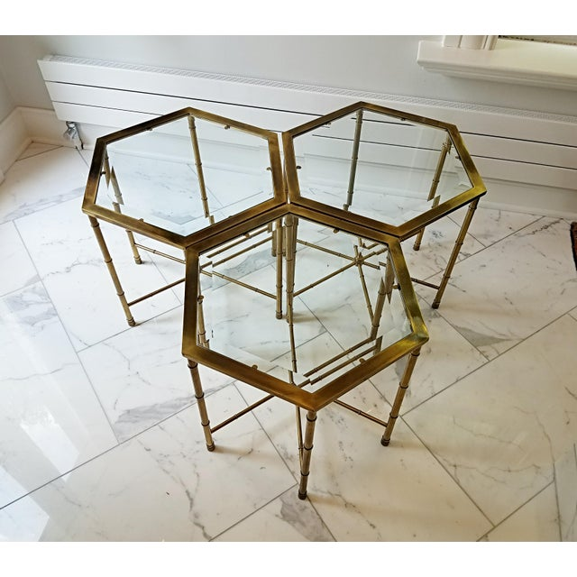 Mastercraft Mid Century Brass Glass Coffee Tables