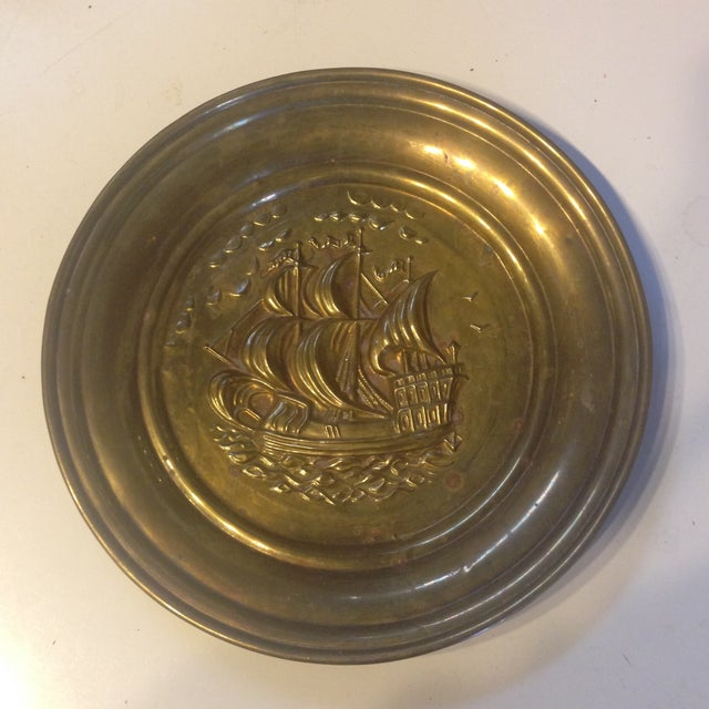 Mid Century Brass Ship Wallhanging - Image 2 of 5