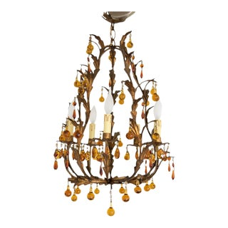 Vintage European Gilt Tole Chandelier