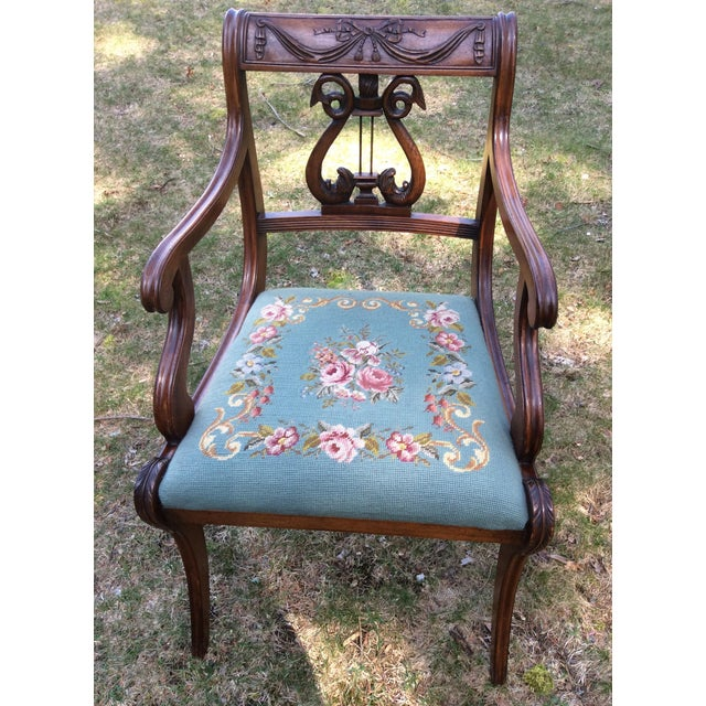Regency Floral Needlepoint Harp Arm Chair - Image 2 of 7