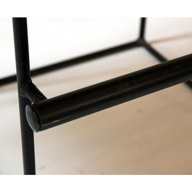 Mid-Century Modern Upholstered Iron Bar Stools - A Pair - Image 9 of 10