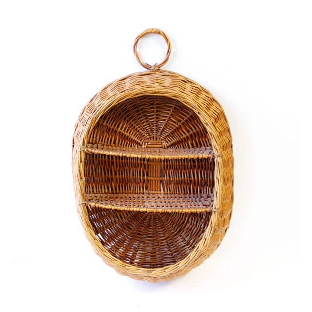 Vintage Boho Wicker Basket Shelf - Image 3 of 4
